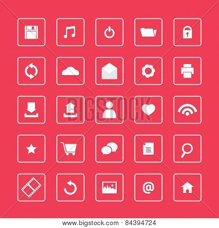 Red And White Website Icons Set.