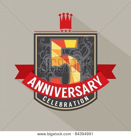 5 Years Anniversary Badge Design.