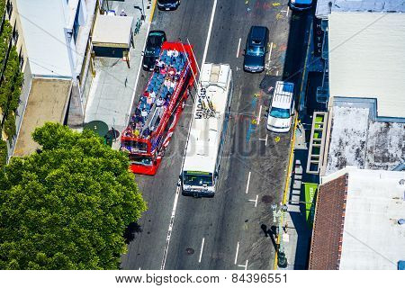 People Travel In San Francisco With A Tourist Double Decker Bus