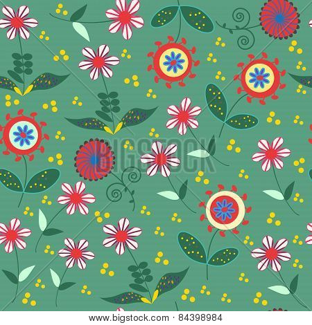 Abstract Floral Seamless Pattern With Cute Colorful Flowers  And Seamless Pattern In Swatch Menu, Ve
