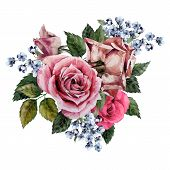 ������, ������: Bouquet Of Roses Watercolor