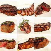 foto of cowboys  - Grilled meat collage including new york steak pork brisket medium rare beef steak filet mignon rack of lamb pork tenderloin cowboy rib eye steak and beef fillet chateau - JPG