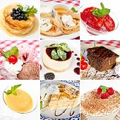 stock photo of mango  - Various desserts collage including cheesecakes sweet pancakes ice cream mango sorbet american apple pie tiramisu and chocolate brownie - JPG