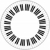 image of rainbow piano  - round piano keyboard frame in black and white - JPG