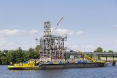 picture of petrol  - Docked ship in a petrol harbor in Hamburg Harbor Germany