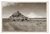 stock photo of michel  - Le Mont Saint Michel Abbey Normandy Brittany France Vintage photo - JPG