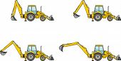 picture of earth-mover  - Detailed illustration of backhoe loaders heavy equipment and machinery - JPG