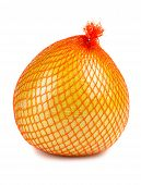 pic of pomelo  - The pomelo fruit wrapped in plastic reticle on white background - JPG