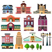 foto of lamp post  - A vector illustration of buildings and lamp post icons - JPG