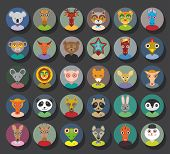picture of horse face  - Set of animals faces circle icons set in Trendy Flat Style - JPG