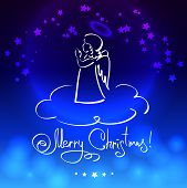 picture of blue angels  - Christmas blue card with little angel - JPG