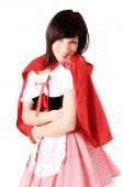 foto of carnival ride  - Little Red Riding Hood Portrait of a young woman in carnival costume - JPG