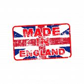 picture of union  - grunge rubber stamp with text Made in England in the background of The Union Jack or Union Flag isolated on white background - JPG