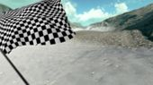 picture of sidecar  - Large Checkered Flag with fabric surface texture with landscape background - JPG