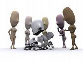 image of peer-pressure  - A 3D illustration of a man crumbled under peer pressure - JPG