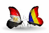 picture of chad  - Two butterflies with flags on wings as symbol of relations Egypt and Chad Romania - JPG