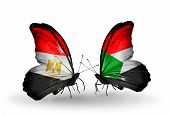 picture of sudan  - Two butterflies with flags on wings as symbol of relations Egypt and Sudan - JPG