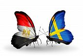 foto of sweden flag  - Two butterflies with flags on wings as symbol of relations Egypt and Sweden - JPG
