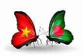 picture of bangladesh  - Two butterflies with flags on wings as symbol of relations Vietnam and Bangladesh - JPG
