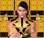 picture of pharaoh  - Pharaoh in Egyptian modern digital art fantasy style - JPG