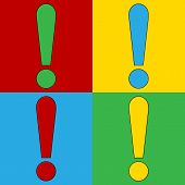 pic of symbol punctuation  - Pop art exclamation mark symbol icons - JPG