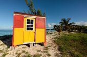foto of beach hut  - colorful beach hut on the Caribbean beach - JPG