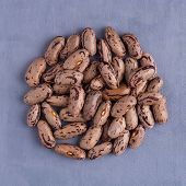 foto of pinto bean  - Top view of circle of pinto beans against purple vinyl background - JPG