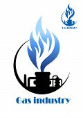 picture of combustion  - Well gas production and gas processing factory emblem or icon - JPG