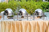 image of chafing  - Closeup decorations design chafing dishes at a party - JPG
