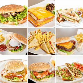 picture of burger  - Burgers and sandwiches collage including burgers with beef burger with salmon clubhouse sandwiches sandwich with roast beef and bruschetta with spicy vegetables - JPG