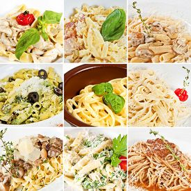 stock photo of carbonara  - Various pasta collage including fettuccine with mushrooms penne pasta linguine pasta tagliatelle spaghetti Carbonara and spaghetti Bolognese - JPG