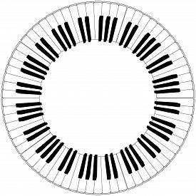 foto of rainbow piano  - round piano keyboard frame in black and white - JPG