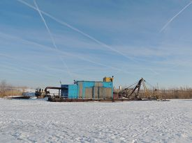 picture of dredge  - frozen at river dredge hopper at winter - JPG