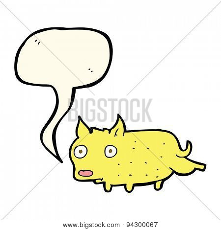 cartoon little dog cocking leg with speech bubble