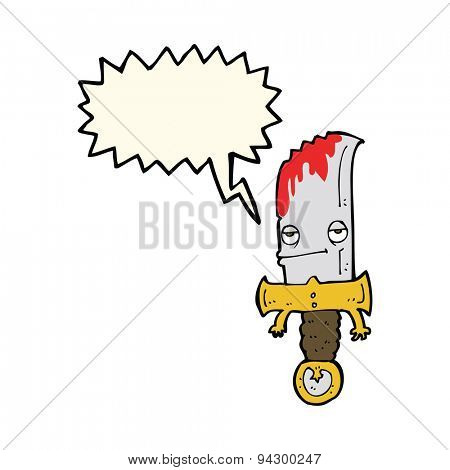 bloody knife cartoon character with speech bubble