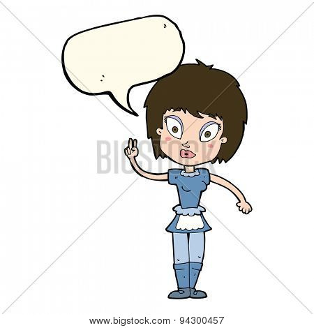 cartoon maid with speech bubble
