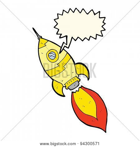 cartoon spaceship with speech bubble