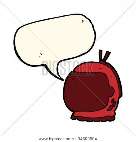 cartoon astronaut helmet with speech bubble
