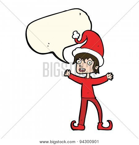 cartoon excited christmas elf with speech bubble