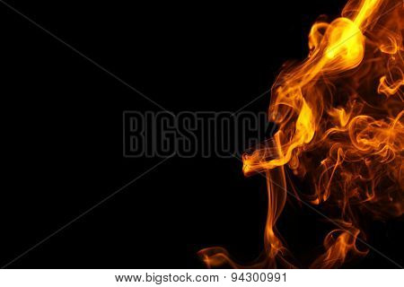 Color smoke from match on dark background