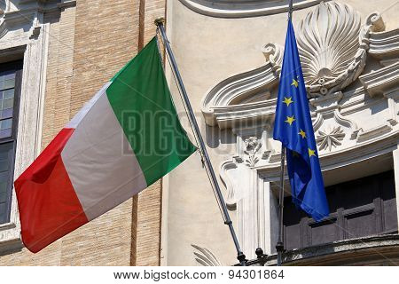 Flags Of Italy And European Union Waving In Rome, Italy