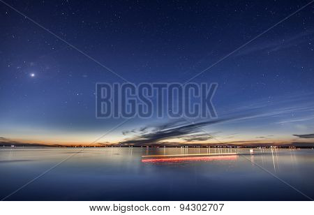 Beautiful sunset at dusk with stars above