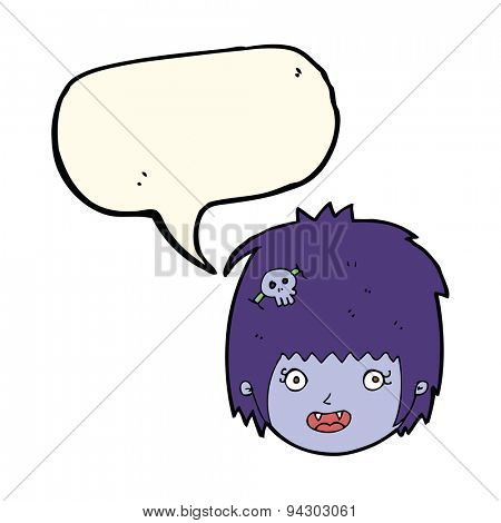 cartoon happy vampire girl face with speech bubble