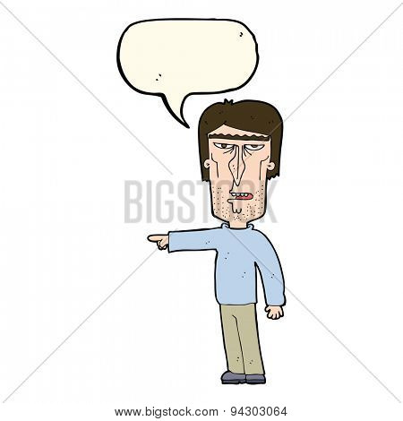 cartoon pointing man with speech bubble