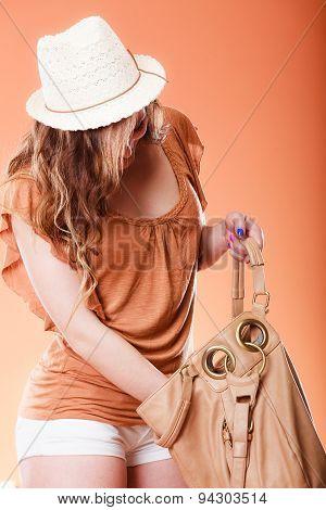 Lovely Woman In Summer Hat Handbag Portrait