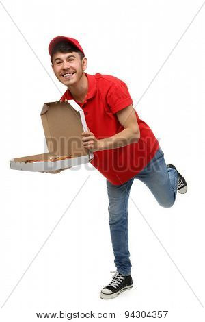 Delivery boy with cardboard pizza box isolated on white