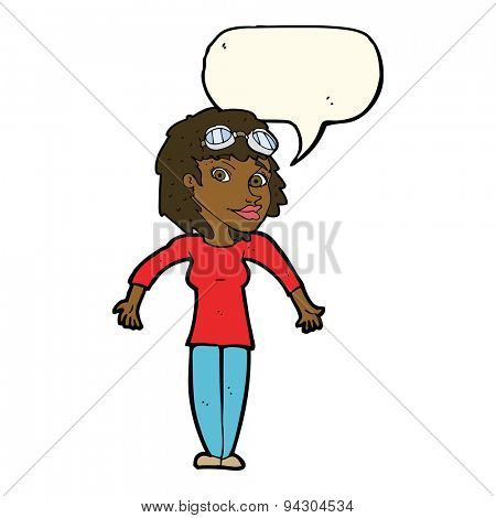 cartoon woman wearing goggles with speech bubble