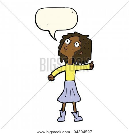 cartoon woman looking up to the sky with speech bubble