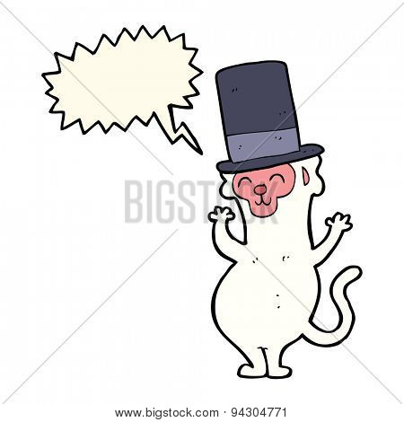 cartoon monkey in top hat with speech bubble