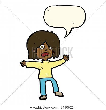 cartoon unhappy person with speech bubble